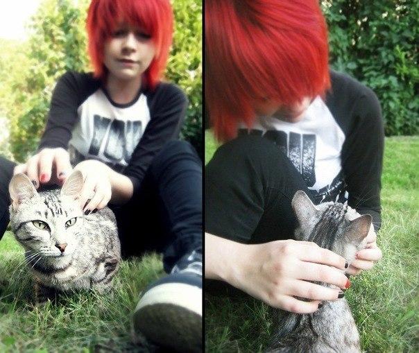 Фото челкастых с красными волосами