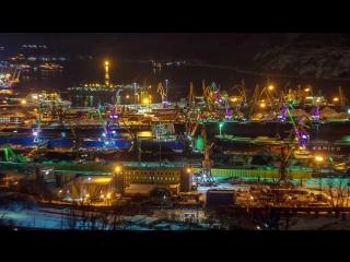 Ночной Мурманск, гиперлапс.