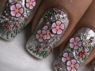 Fimo flower nail art tutorial -ногтей видео -  ногтей гелем наращивание ногти нарощенные гелем фото ногти фото