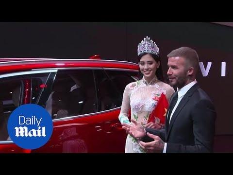 David Beckham attends Vietnamese car launch at Paris Motor Show.