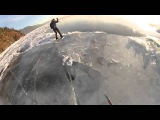 Лыжник провалился в промоину на Байкале (Skier fell through the ice on Lake Baikal)