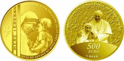 Удивительные и дорогие монеты евро, монеты, нумизматика, 500 евро, Мать Тереза