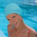 Шапочка для плавания женская каучуковая рельефная FASHY BUBBLE CAP (3115) голубая.