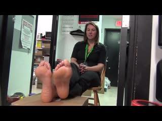 32 yo saleswoman shows sexy soles