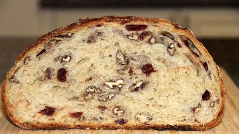Хлеб БЕЗ ЗАМЕСА с клюквой и орехами пекан который 100% получается у всех