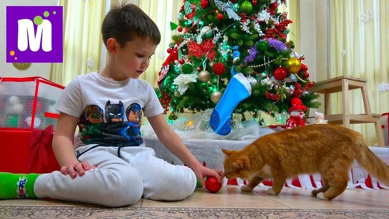 Макс наряжает ёлку на Новый Год 2017 / Ждём подарочки в носках / Мурка грызёт белочку под ёлочкой