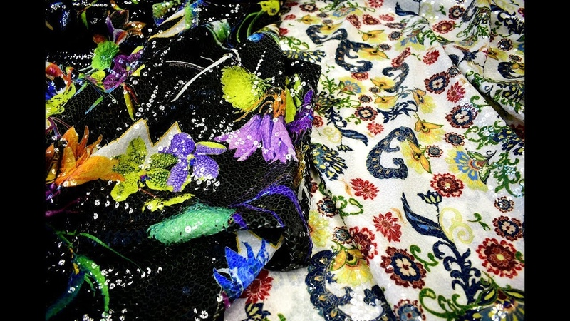 Пайетки на шифоне с рисунком ткань . Print Sequin Fashion Fabrics