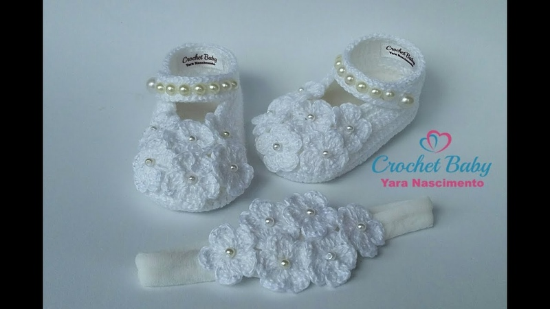Sapatinho FLORZINHA de crochê - Tamanho 09 cm - Crochet Baby Yara Nascimento Parte 02