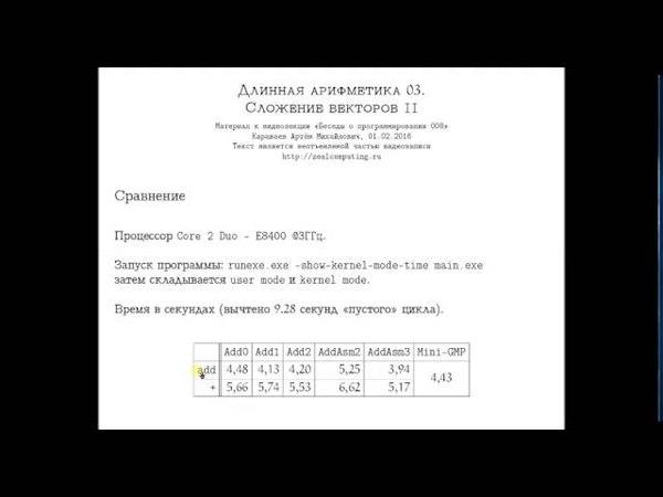 008 :: Длинная арифметика 03. Сложение векторов II
