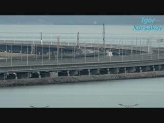 Крымский мост(10.12.2018) Установка Ж_Д пролётов на штатные места! Процесс! Мост с Тамани!