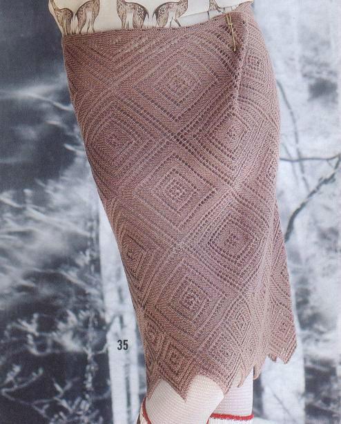 Ажур для юбки спицами