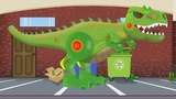 Tank and Dinosaur Robot Formation and uses Toy Factory For Kids Czo