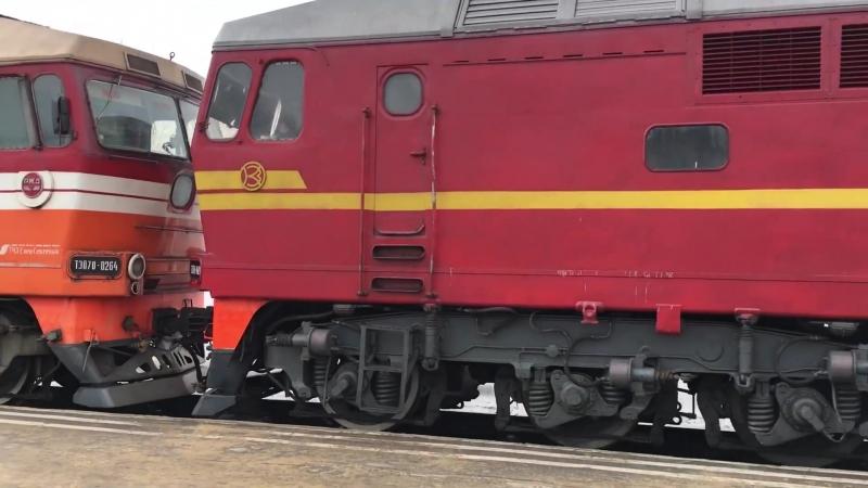 ТЭП70-0264 и ТЭП70-0489 с приветливой локомотивной бригадой отправляются со станции Узловая-l