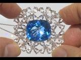 CERTIFIED Natural London Blue Topaz Morganite &amp Diamond 18k White Gold Pendant Necklace - C933
