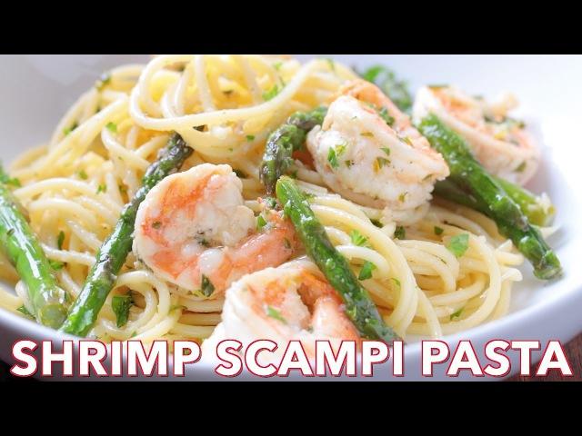 Dinner Shrimp Scampi Pasta with Asparagus - Natashas Kitchen