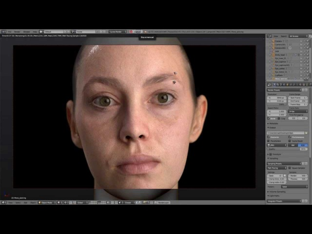 Blender Cycles Study of realistic human skin using Emily 2 1