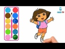 Dora Drawing and Coloring with Glitters, Finger Family Songs Glitters Dora coloring pages