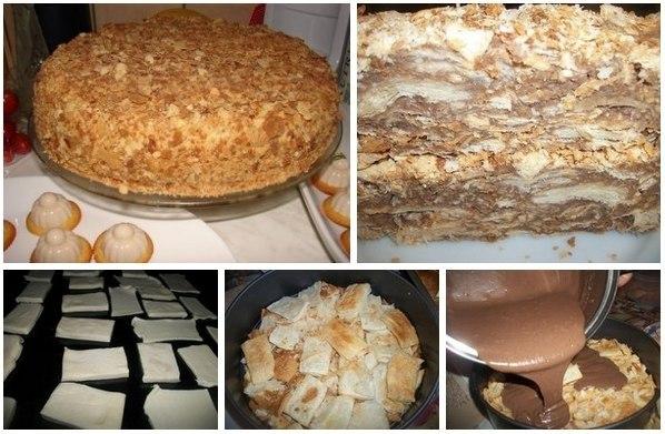 Как сделать торт из слоеного теста и сварить крем для пирога