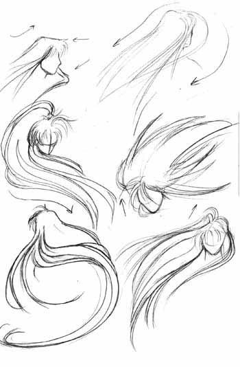 как рисовать аниме волосы: