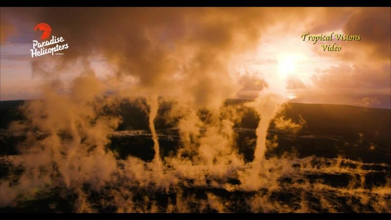 Туманные вихри над лавовым полем вулкана Килауэа (Гавайи, 29.03.2018).
