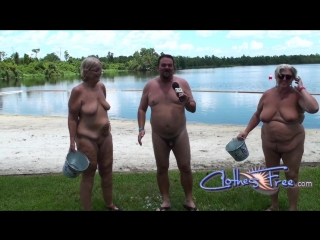 Brave nudist takes the ice bucket challenge! Two buckets!
