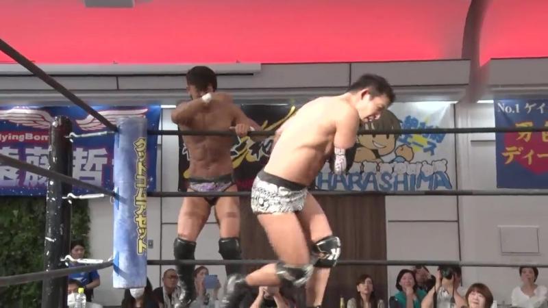 Akito, Keisuke Ishii vs. Nobuhiro Shimatani, Tetsuya Endo (DDT - Best Western Lariat Series 2018 ~ Reborn)