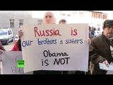 Жители востока Украины встретили делегацию ОБСЕ плакатами «Убирайтесь домой!»