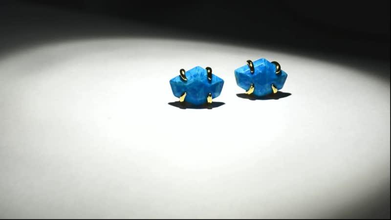 Серьги Диана с имперской голубой яшмой