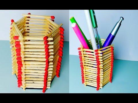 DIY - Pen / Pencil Stand || How to Make Easy Matchsticks Pen Holder Craft Idea |