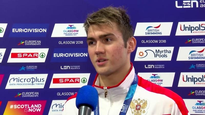 Kliment Kolesnikov – Winner of Mens 50m Backstroke - Glasgow 2018
