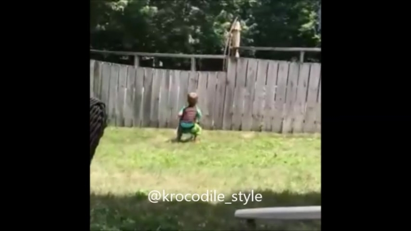 Забор не может остановить маленького мальчика от игры с его новым лучшим другом