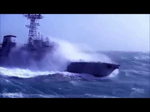 Эпичное видео. Военные корабли плывут в шторм под музыку.