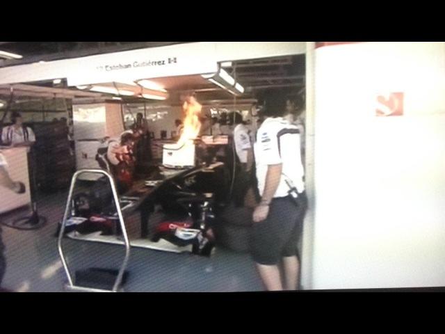 F1 Japan 2013. Болід Гутьєрреса палає