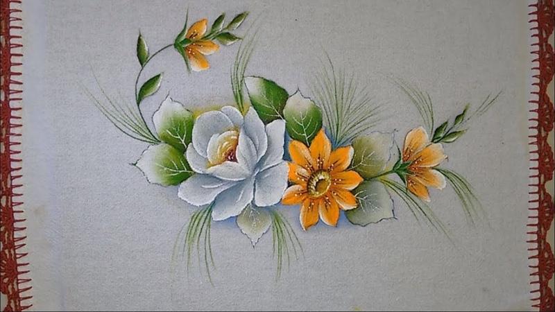 Roberto Ferreira - Aprenda a Pintar de maneira simples Rosa e Flor do campo com Tinta Florescente