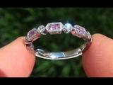 Estate VS Natural NEON Pink Sapphire Diamond 14k White Gold Engagement Ring Band - C380