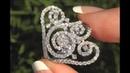 White Diamond Cocktail Ring 18k White Gold Certified Estate GEM 1.89 TCW - C1089
