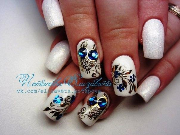 Дизайн ногти сова