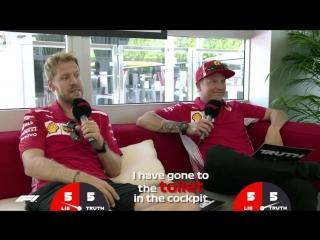 Ferraris Sebastian Vettel and Kimi Raikkonen - Grill the Grid- Truth or Lie