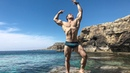 Young Russian Aesthetic Muscle God Flexing Muscles At The Sea