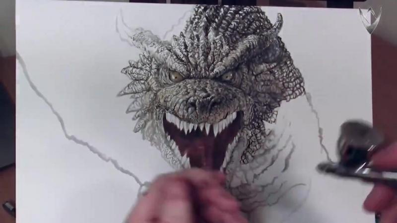 классно рисует дракона
