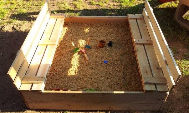 Как сделать песочницу с крышкой и сидением 75