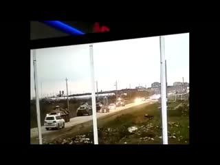 БТР раздавил легковушку LADA (ВАЗ-2114). ДТП в Зеленоморске. Дагестан