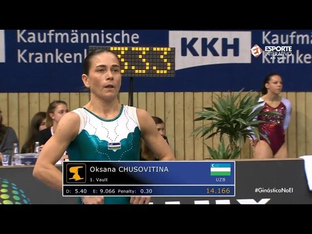 Oksana Chusovitina (UZB) VT EF @ Cottbus World Cup 2017