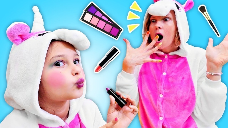 Das Einhorn Mädchen möchte so hübsch sein wie ihre Mama. Spielzeugvideo für Kinder.