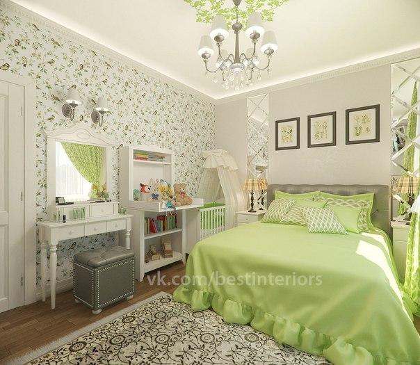 Спальня в светлых, тёплых тонах с серыми и зелеными цветовыми акцентами… (3 фото) - картинка