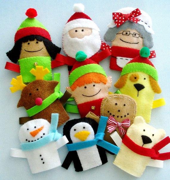 Новогодние пальчиковые куклы из фетра (7 фото) - картинка
