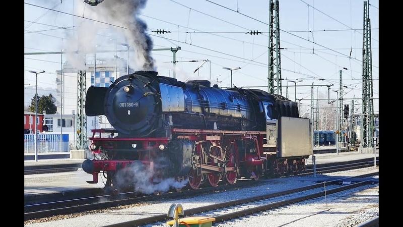 Historische Dampflok 001 180 aus Nördlingen im Bahnhof Freilassing.......