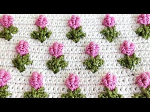 Crochet Bullion Stitch Rose Bud Pattern. Easy and quick