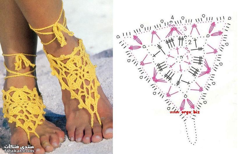 Связать крючком украшения на ноги