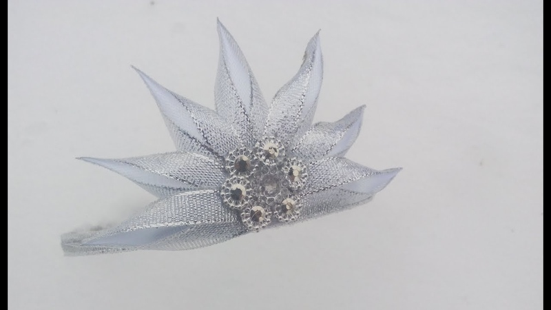 корона из лент на обруче Канзаши\МК\DIY\\satin ribbon decoration\satijnen lint decoratie